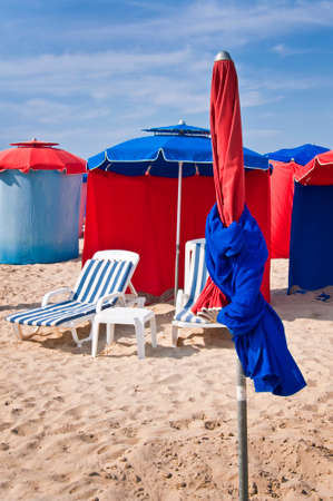 basse normandy: Beach umbrellas, Deauville, France