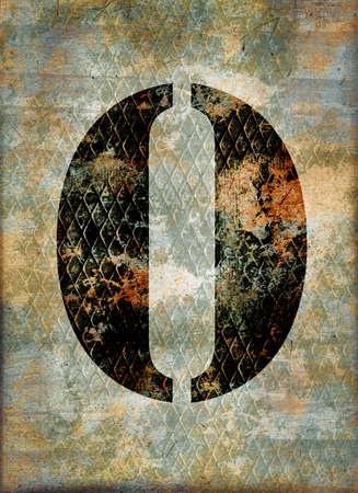 rusty background: Number zero, grunge metallic rusty background Stock Photo