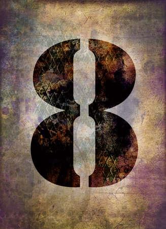 rusty background: Number eight, grunge metallic rusty background