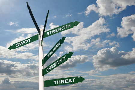 swot: SWOT analysis on green road signs, sky background Stock Photo