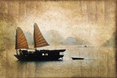 junk: Junk boats in Halong Bay, Vietnam, vintage dark sepia process