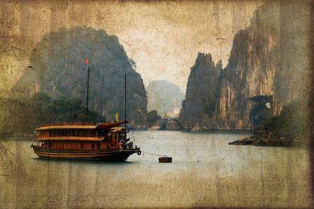 halong: Junk boats in Halong Bay, Vietnam, vintage dark sepia process