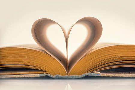 Heart book, vintage sepia process 写真素材