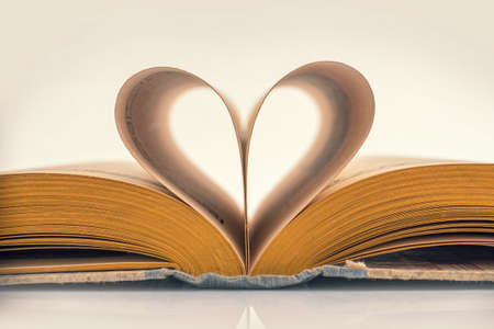 paper heart: Heart book, vintage sepia process Stock Photo