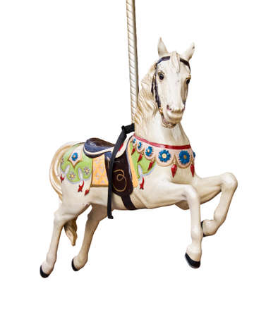 wooden toy: Carousel horse isolated on white background