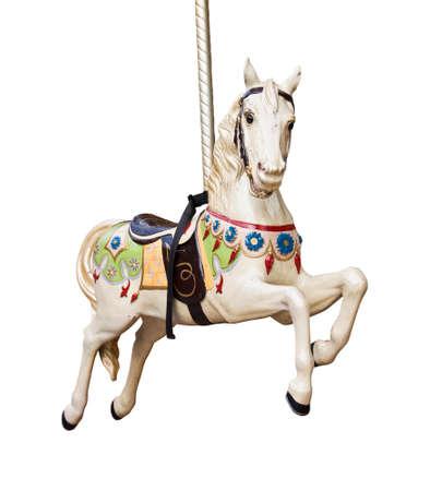 dřevěný: Kolotoč kůň izolovaných na bílém pozadí