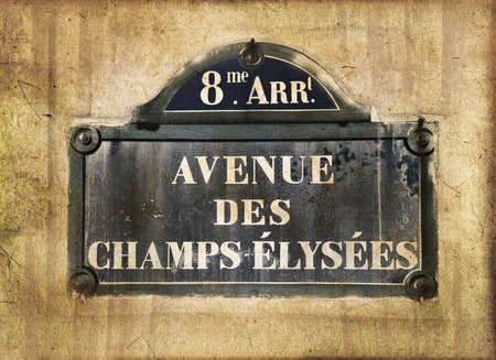french culture: Champs Elysees street plate, Paris, vintage textured sepia process