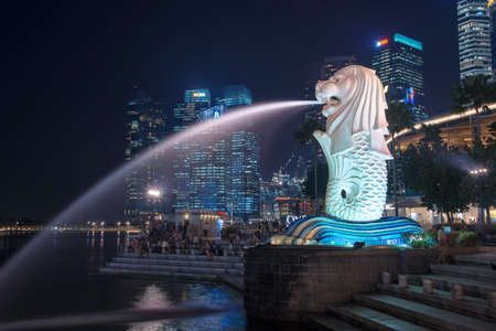 merlion: Merlion of Singapore by night business buildings in the background. The Merlion statue is a symbol of the city Editorial
