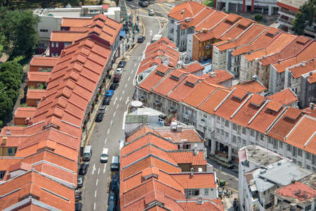 bird eye view: Singapore traditional shophouses view from above