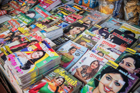 newsprint: Indian magazines in a street of Little India Singapore Editorial