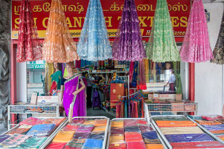 indian fair: Indian colorful fabric and clothes shop in Little India Singapore Editorial