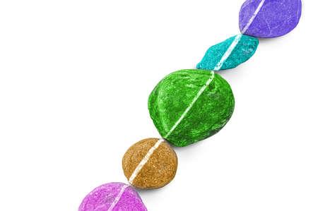 balanced rocks: Diagonal line of colorful stones, isolated on white background