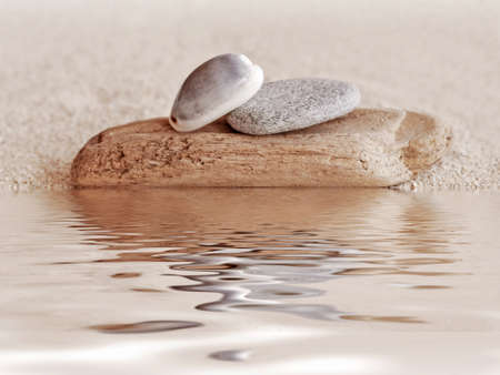 still water: Zen stone, wood, shell and sand still life, water reflections Stock Photo