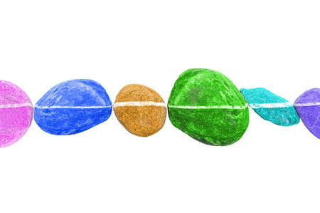 horizontal line: Horizontal line of colorful stones, isolated on white background