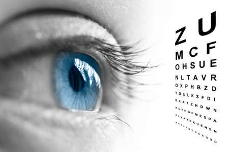 eye closeup: Close up of an eye and vision test chart