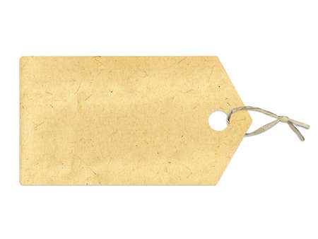 labeled: Label with sepia paper texture, isolated on white background Stock Photo