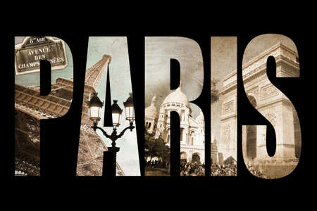 Photo collage letters PARIS isolated on black background vintage process