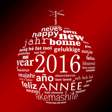 new ball: 2016 new year multilingual text word cloud greeting card in the shape of a christmas ball