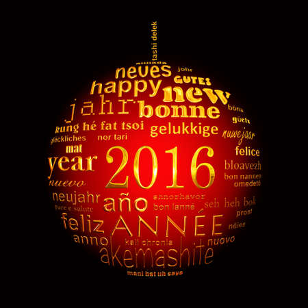 multilingual: 2016 new year multilingual text word cloud greeting card in the shape of a christmas ball