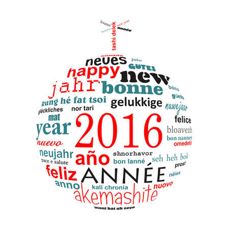text word: 2016 new year multilingual text word cloud greeting card in the shape of a christmas ball
