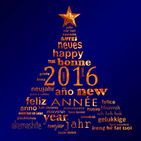 cloud shape: 2016 new year multilingual text word cloud greeting card in the shape of a christmas tree