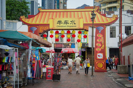 chinatown: People in a street of Chinatown, a famous touristic district of Singapore Editorial
