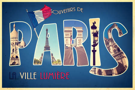 coeur: Collage souvenirs de PARIS, la ville lumiere (meaning greetings from Paris the city of light) retro postcard style, vintage process Stock Photo