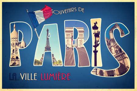 streetlight: Collage souvenirs de PARIS, la ville lumiere (meaning greetings from Paris the city of light) retro postcard style, vintage process Stock Photo