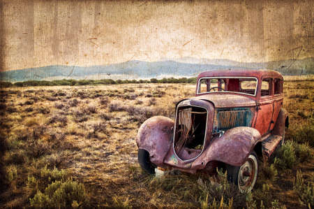 wrecked: Rusty wrecked car, vintage style Stock Photo