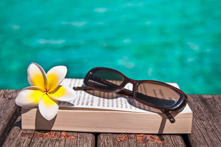 palm reading: Book and sunglasses, blue water, background Stock Photo