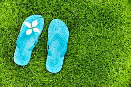 coutryside: Flip flops on a lawn in summer