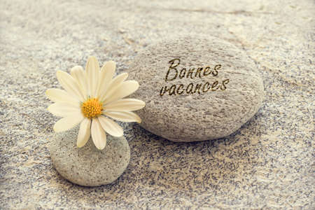 Bonnes vacances (meaning happy holiday) written on zen pebbles with a daisy