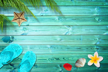 Summer background with palm trees, flip flops and sea shells