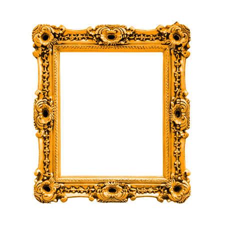 Orange Antique Baroque Frame, Isolated On White Background Stock ...