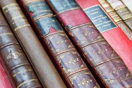 stack: Vintage leather books Stock Photo