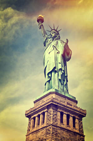 Close up of the statue of liberty with its pedestal, New York City, vintage process