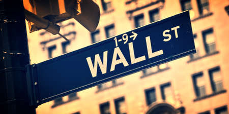 wallstreet: Close up of a Wall street direction sign, New York City, vintage process Stock Photo