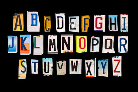 metal plate: Alphabet set created with broken pieces of vintage car license plates Stock Photo