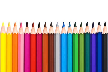 back to school supplies: Line of colorful wooden pencils isolated on white background Stock Photo