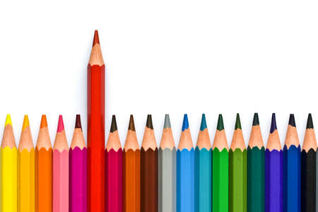 Colorful wooden pencils isolated on white background 스톡 콘텐츠