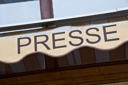 French newspaper store sign, France
