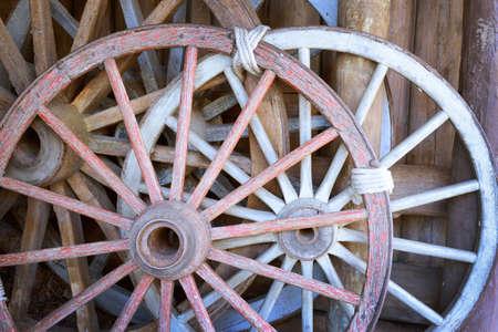 old wood farm wagon: Old wagon wheels, western style