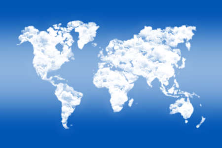 business world: World map sky and clouds