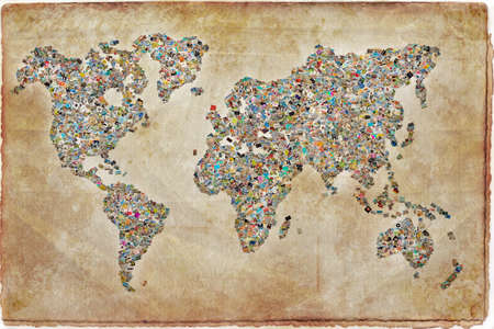 Photos collage in the shape of a world map, vintage background Standard-Bild