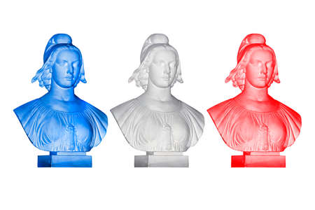 marianne: Blue white red Marianne statues, french republic symbol Stock Photo