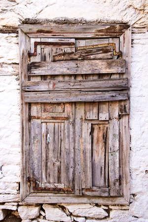 abandoned house window: Abandoned house, Symi island, Greece