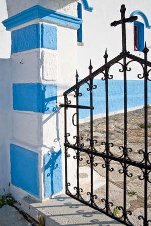 dodecanese: Church gate, Symi, Dodecanese island, Greece Stock Photo