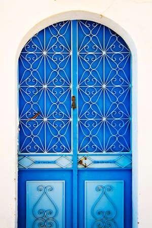 dodecanese: Blue door, Symi, Dodecanese island, Greece Stock Photo