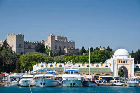 SEA  LANDSCAPE: The harbour of Rhodes, Dodecanese, Greece Editorial