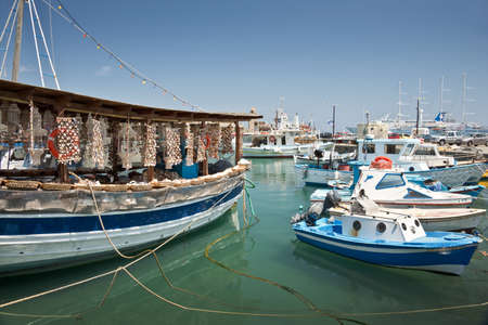 dodecanese: Seashells shop boat in the harbour of Rhodes, Dodecanese, Greece